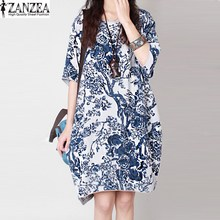 ZANZEA Retro Womens Crew Neck Short Sleeve Floral Print Summer Kaftan Mini Shirt Dress Party Baggy Vestido Sundress Plus Size