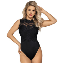 Buy High Neck Lace Sexy Teddy Lingerie Hollow Back Plus Size Sexy Bodysuit Women Erotic Lingerie Open Crotch Teddy