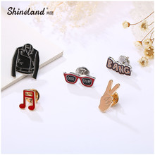 Shineland 5PCS Fashion Collar Pins Sets For Women Clothing Accessories Enameled Jacket/Glasses/Musical Note Brooch Set Hot Sale