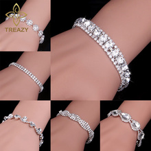 Buy TREAZY New Luxury Rhinestone Crystal Bracelets & Bangles Women Silver Plated Bridal Bracelets Wedding Jewelry Accessories for $1.31 in AliExpress store