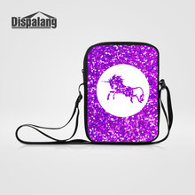 Dispalang Cartoon Unicorn Women Mini Messenger Bags Fantastic Horse Animal Cross Body Shoulder Bag Children School Bags Bookbags(China)
