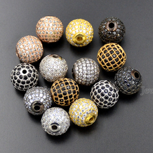 Cubic Zirconina Pave Disco Micro Round Ball Rhinestones Bracelet Connector Charm Beads 6mm 8mm 10mm 12mm 14mm 16mm 18mm