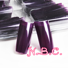 100 pc/box Long Competition Nail Tips Dark Purple French Salon Acrylic Nail Art False Nail Tips For Manicure(China)