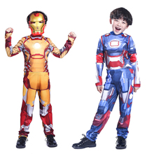 Free shipping Halloween costume cosplay boy hero Avengers Iron Man clothes performance clothing costumes(China)
