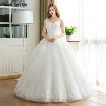 Buy Real Photos Ball Gown Wedding Dress 2017 V-neck Lace Vestido De Novia Tiered Sexy Lace-up Back Beading Crystal Robe De Mariage for $180.80 in AliExpress store