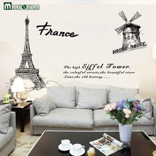 MARUOXUAN Paris Tower City Scenery Sticker Bedroom Living Room Bathroom Background Decorative Wallpaper PVC Wall Stickers 93*158(China)