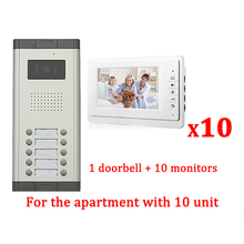 "7"" LCD Apartment Wired Video Door Phone Audio Visual Intercom Entry System 1 HD Outdoor Camera With 10 monitor"