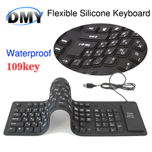 Russian Spanish 109 Keys USB wired Portable Silicone soft keyboard Rubber Waterproof Flexible Foldable the table gaming Keyboard