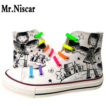 Mr.Niscar Women White Fashion Canvas Shoes Cartoon Grey Girl Casual Shoe Breathable High Top Laces Female Flat Shoes Woman Flats