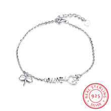 Ann & Snow High Quality Charm Letters Dream & Dragonfly 925 Sterling Silver Chain Bangles Bracelets For Women H018(China)