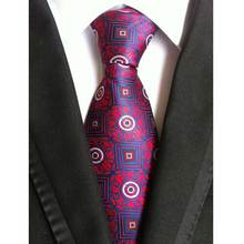 Factory Vintage  Classic Mens 100% Silk Ties Red Khaki Purple Geometric W/ Paisley Accessories Jacquard Woven necktie Neck Tie