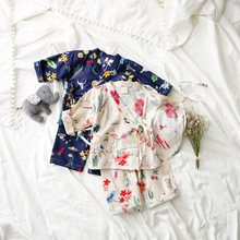 Spring 2017 Children's Wear Kimono Pajamas Baby Children Suit Japanese Home Furnishing Clothing Nine Sleeve Explosion(China)