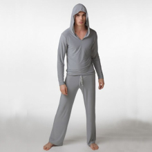 Mens Sexy Silk Hooded Costumes Male Fitness Suit Pajama Sets Pullover Sleepwear Homewear Hot Pyajama S M L(China)
