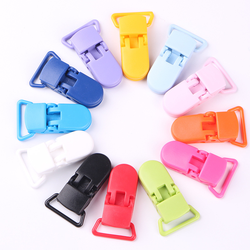 10PCS/ lot 20mm Multicolor Plastic Clips Transparent Pacifier Clip Soother Holder Baby Pacifier 35 Colors Free
