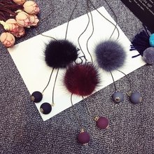 Modern Design Mink Necklace Long Chain Pendant Round Metal Winter Necklaces Women Girl Crystal Statement Jewelry