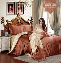 imitated silk home textile bedding sets 4/6pcs Brown&Camel Soft Satin quilt/duvet cover bedclothes bed sheet queen king size