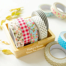 5PCS/LOT DIY Cute Fabric Flower Lace Stripe Making Sticky Tape Polka Dot Decorative Tape Plaid Fabric Tape For Scrapbooking