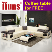 IFUNS wholesale sectional sofas l shape corner black quality leather black modern design sofa set living room furniture (fr)