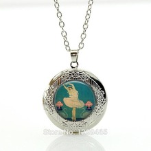Ballet Dancer Swan Lake Art Deco Ballerina Pendant in Bronze or Silver with Chain Necklace Fashion locket pendant jewelry N345(China)