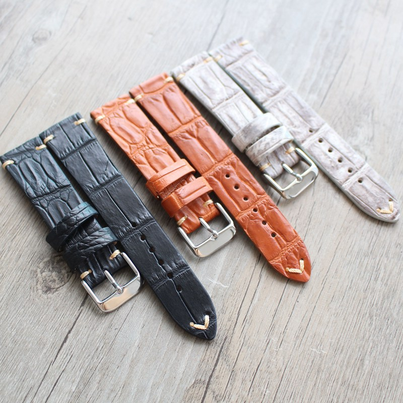 TJP HandmadeTop Quality 20mm Black Orange Gray Genuine leather Crocodile skin Watchbands Watch Strap Currency wristband<br>