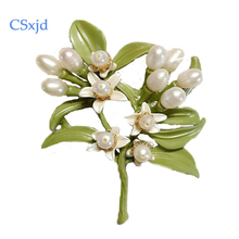 CSxjd Natural pearlsvintage brooch  jewelry Orange flower Brooches High quality metal paint brooch scarves buckle Accessories