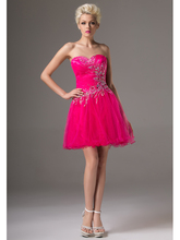 Real Images Elegant Fuchsia Short Prom Gowns 2016 A-line Strapless Beading Crystals Tulle High School Girls Cocktail Dresses