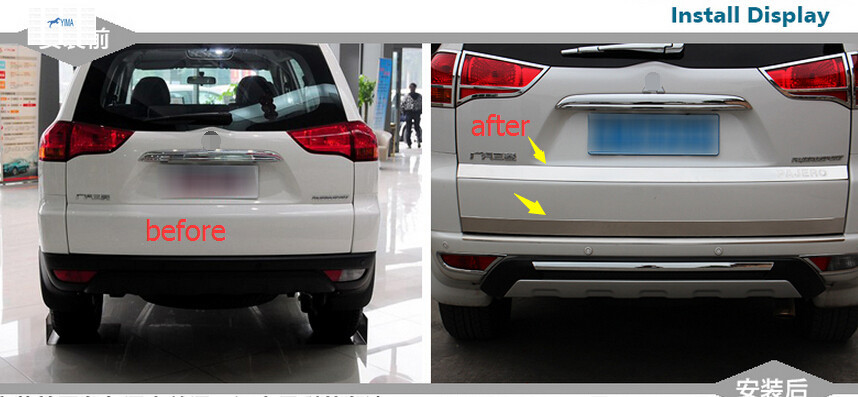 For Mitsubishi Montero Pajero Sport 2011-2014 Stainless Steel Rear Trunk Lid Cover Trim 2pcs / set<br><br>Aliexpress