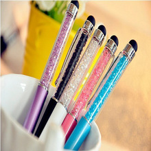 10 pcs/Lot Crystal pen Diamond ballpoint pens Stationery ballpen 2 in 1 crystal stylus pen touch pen for IPhone IPad etc(China)