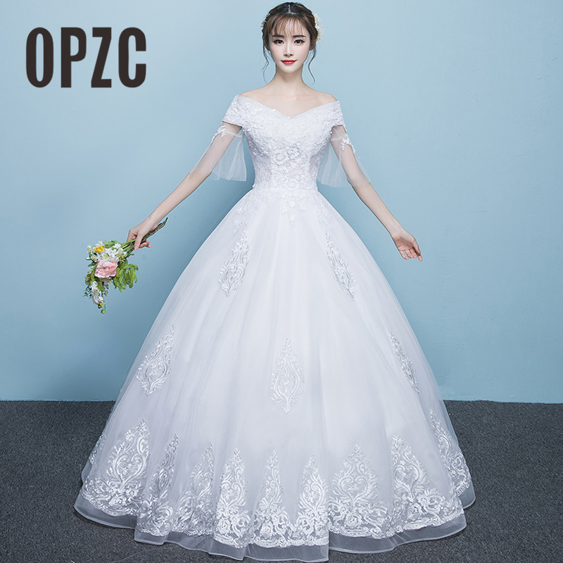 Vestido De Novia Special Organ Sleeve White Wedding Dress Simple V-Neck Embroidery Flower Pattern Ball Gown Charming New Arrival