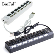 BinFul High Quality ON/OFF Sharing Switch Mini 7 Port USB 2.0 High Speed HUB Black For Laptop for PC Black ergonomic design