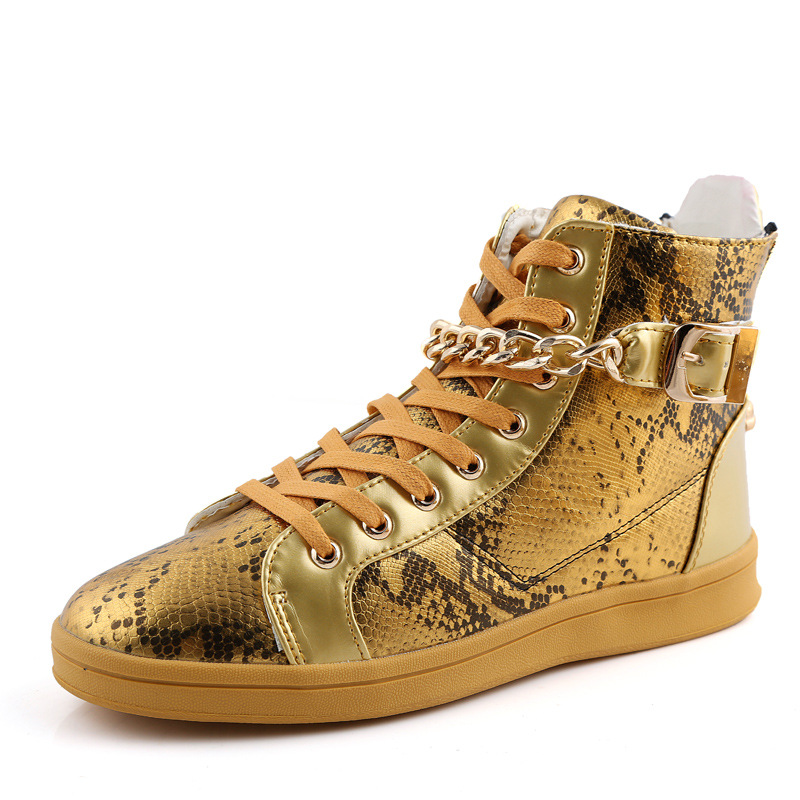 Gold Sliver Black Men High Shoes 2016 Fashion Hip Hop Shoes Men Casual Shoes gold metal snake pattern designers zapatillas XX226<br><br>Aliexpress