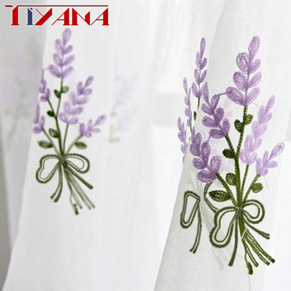 Luxury Embroidered Pink Lavender Flower Tulle Blue Curtains For Living Room Red Rose embroidery Curtains Purple Sheer wp140&2