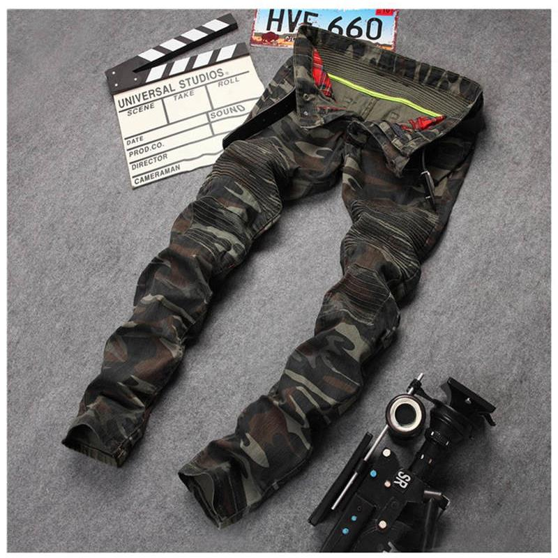New Mens Camouflage Jeans Motocycle Camo Military Slim Fit Famous Designer Biker Jeans With Zippers Men Îäåæäà è àêñåññóàðû<br><br>
