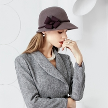 New Winter Fashion Wool Hat British Style Womn Wool Fedora Capl Wide Brim Bowler Hat Ladies Girls Wedding Hats B-7459(China)