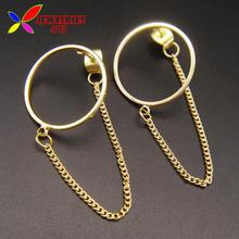 2016 New Jewelry Fashion Novalty Brief golden Silver Open Circle Chain Linked Female Drop Earrings for Women joyas pendiente