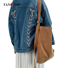 TANGIMP Corduroy Messenger Bags Handbags Strap with Buckle Solid Color Women Single Shoulder Shopping Tote Girls for Winter(China)