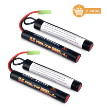 Melasta 2Pack 2/3A 9.6v 1600mAh Butterfly NunChuck NIMH Battery Pack with Mini Tamiya Connector for Airsoft Guns
