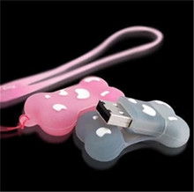 Bestselling dog bone usb flash drive cute rubber pink /blue /white 8GB 16GB 32GB usb flash drive memory stick pen drive S321(China)