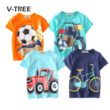 V-TREE Summer Baby Boys T Shirt Cartoon Car Print Cotton Tops Tees T Shirt For Boys Kids Children Outwear Clothes Tops 2-8 Year(China)