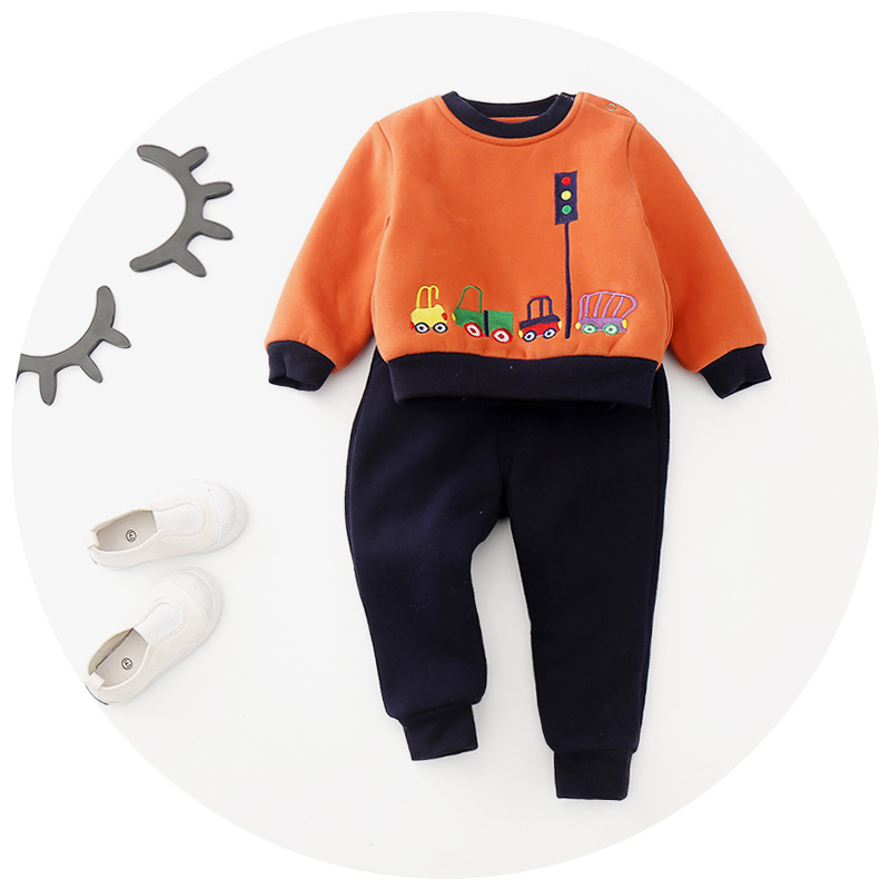 2017 male and female children winter coat two sets of printing plus velvet thick winter children s sports shirt suit for 2-6T<br><br>Aliexpress