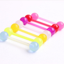 Unisex Jewelry Luminescent Punk 7Pcs/Set Body Piercing Jewelry Glow UV Acrylic Tongue Rings Nose Barbell Bars Hot Sale
