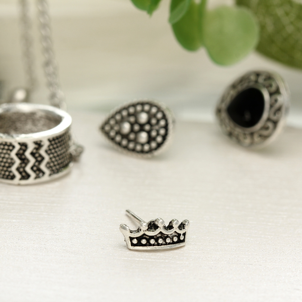 4PCS/Set Bohemian Crown & Water Droplets Chain Fashion Earrings