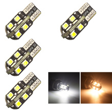 4pcs T10 LED Side Marker Light Dome Reading Map License pleate 16smd 2835 LEDs Warm White / White Lights DC 12V w5w 194 bulbs