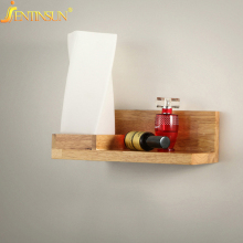 Modern Solid Wooden Wall Lamp Luminaire Ground Glas Oak Wood Sconce Light Creative Decoration Bedroom Living Room Mounted Lights
