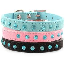 Hot Bling Crystal Rhinestones Leather Pet Dog Collars Puppy Cat Choker Necklaces Pink S Adjustable Puppy Collar Buckle EHO
