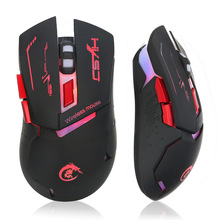Rechargeable Optical Wireless Mouse 6 Buttons Adjustable 2400DPI Colorful  LED Light Gaming Mouse PC Mice for Computer Laptop