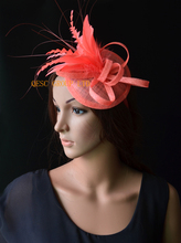 NEW Coral pink sinamay feather fascinator sinamay hat wedding hat for Ascot Races Kentucky derby Tea Party.FREE SHIPPING