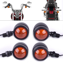 DWCX Motorcycle 4pcs Black Bullet Turn Signal Indicator Lights Lamp for Harley BMW Honda Bobber Yamaha Suzuki Dirt Bike Chopper