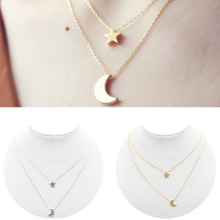 Sale Women Lady Girl New Golden Silvery Star Moon Two Layered Chain Pendent Necklaces Fashion Jewelry