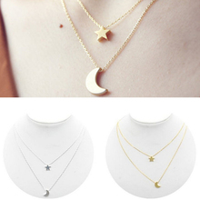 1 Piece Sale Women Lady Girl New Golden Silvery Star Moon Two Layered Chain Pendent Necklaces Fashion Jewelry(China)